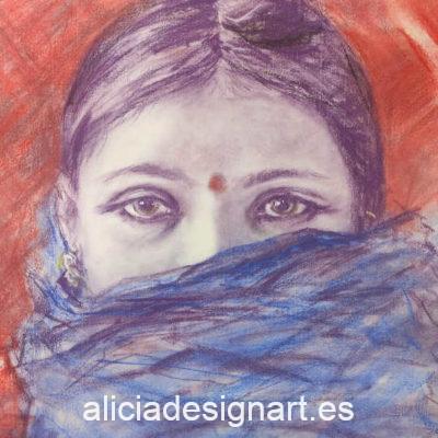 Hoja de papel de arroz para découpage con rostro de mujer india realizado por Alicia Domínguez López - Taller decoración de muebles antiguos Alicia Designart Madrid.
