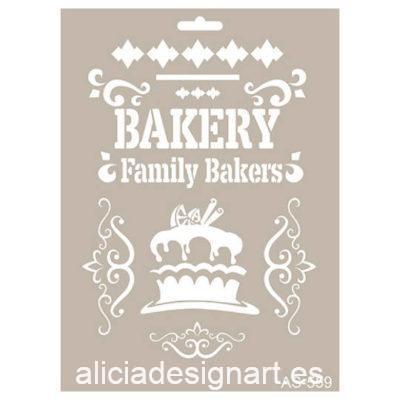 Plantilla de stencil estarcido con motivos bakery de Cadence AS559 - Taller decoración de muebles antiguos Madrid estilo Shabby Chic, Provenzal, Romántico, Nórdico