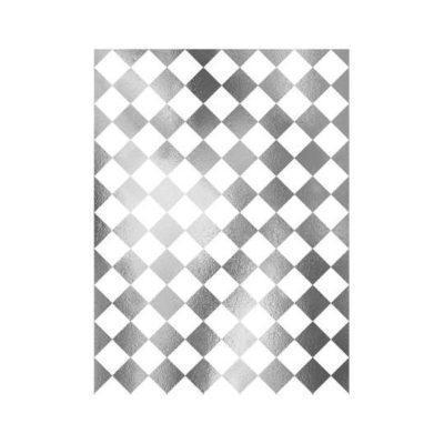 Papel de arroz con damero de plata de Cadence ref PLATA022 - Taller decoración de muebles antiguos Madrid estilo Shabby Chic, Provenzal, Romántico, Nórdico