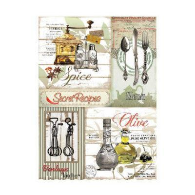 Papel de arroz découpage Secret Recipes de Cadence ref PA371 - Taller decoración de muebles antiguos Madrid estilo Shabby Chic, Provenzal, Romántico, Nórdico