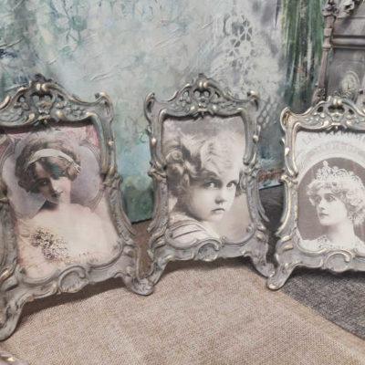 Marcos portaretratos antiguos de bronce macizo, estilo barroco, rococó y Art Déco - Taller decoración de muebles antiguos Madrid estilo Shabby Chic, Provenzal, Romántico, Nórdico