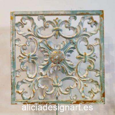 Cuadro decorativo Mandala Boho Glam cuadrado, pintado a mano sobre mandala de resina eco - Taller de decoración de muebles antiguos Madrid estilo Shabby Chic, Provenzal, Romántico, Nórdico