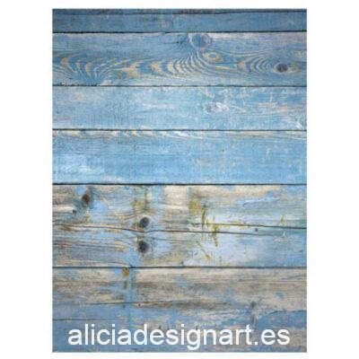 Papel de arroz para découpage Madera Azul de Cadence ref PA441 - Taller decoración de muebles antiguos Madrid estilo Shabby Chic, Provenzal, Romántico, Nórdico