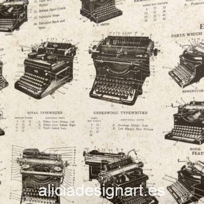 Papel florentino decorativo para découpage y scrapbooking Typewriters de Rossi ref: CRT685 - Taller decoración de muebles antiguos Madrid estilo Shabby Chic, Provenzal, Romántico, Nórdico