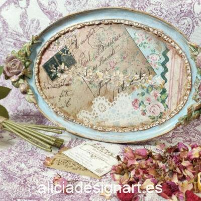 Bandeja ovalada decorada estilo shabby chic romántico floral - Taller decoración de muebles antiguos Madrid estilo Shabby Chic, Provenzal, Romántico, Nórdico