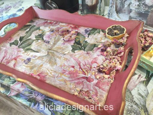 Bandeja rectangular de madera decorada estilo shabby chic floral - Taller decoración de muebles antiguos Madrid estilo Shabby Chic, Provenzal, Romántico, Nórdico