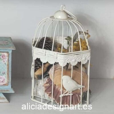 Set de 2 jaulas de metal decoradas estilo shabby - Taller decoración de muebles antiguos Madrid estilo Shabby Chic, Provenzal, Romántico, Nórdico