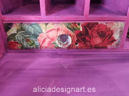 Escritorio secrétaire antiguo de 5 cajones decorado estilo Boho con transfer y stencil - Taller de decoración de muebles antiguos Madrid. Muebles de colores, productos y cursos.