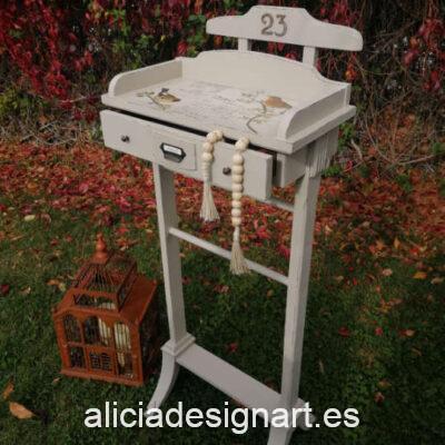 Galán con cajón Nevada decorado estilo Vintage, por Restaurarte y Más - Taller de decoración de muebles antiguos Madrid. Muebles de colores, productos y cursos.