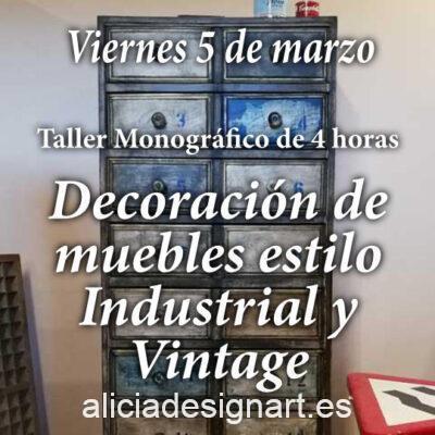 Curso taller de decoración de muebles estilo Industrial y Vintage 05/03/2021 - Taller de decoración de muebles antiguos Alicia Designart Madrid