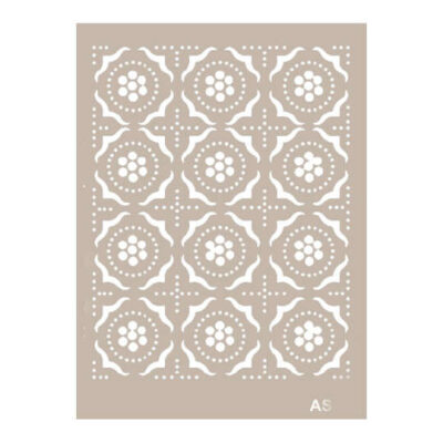 Plantilla Cadence de stencil estarcido baldosas con puntos AS492 - Taller decoración de muebles antiguos Madrid estilo Shabby Chic, Provenzal, Romántico, Nórdico