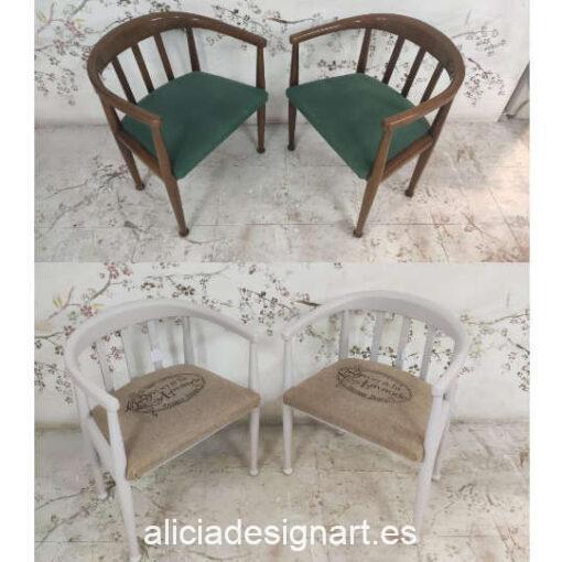 Butacas de madera maciza decoradas por encargo estilo provenzal - Taller de decoración de muebles antiguos Madrid. Muebles de colores, productos de decoración y cursos.