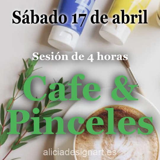 Café y Pinceles, sesión de 4 horas en la que te acompaño para decorar tu propio mueble, sábado 17 de abril 2021 - Taller de decoración de muebles antiguos Alicia Designart Madrid