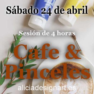 Café y Pinceles, sesión de 4 horas en la que te acompaño para decorar tu propio mueble, sábado 24 de abril 2021 - Taller de decoración de muebles antiguos Alicia Designart Madrid