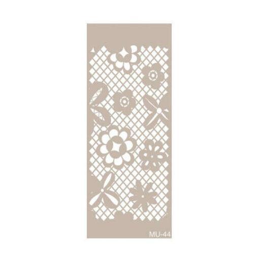 Plantilla de stencil estarcido Mix Media con encaje de flores de Cadence MU044 - Taller decoración de muebles antiguos Madrid estilo Shabby Chic, Provenzal, Romántico, Nórdico