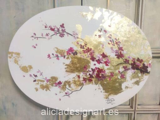 Cuadro decorativo Sakura Gold, realizado con pintura acrílica sobre lienzo redondo - Taller de decoración de muebles antiguos Madrid estilo Shabby Chic, Provenzal, Romántico, Nórdico
