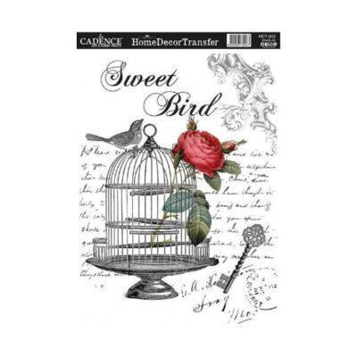 Papel para transfer Sweet Bird de Cadence Home Decor ref HDT002 - Taller decoración de muebles antiguos Madrid estilo Shabby Chic, Provenzal, Romántico, Nórdico