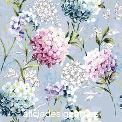 Servilleta para découpage con hortensias Horana Blue, ref 13314271 - Decoración de muebles antiguos estilo Shabby Chic, Provenzal, Romántico, Nórdico