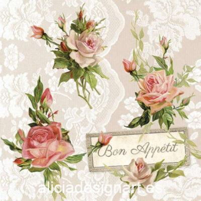 Servilleta para découpage con rosas on lace, ref 13314275 - Decoración de muebles antiguos estilo Shabby Chic, Provenzal, Romántico, Nórdico