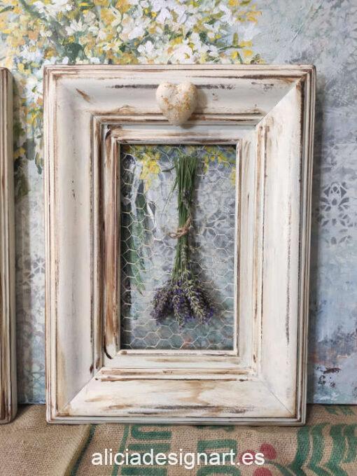 Pareja de cuadros decorativos de madera maciza inspiración campestre shabby chic con ramilletes de flores secas - Taller decoración de muebles antiguos Madrid estilo Shabby Chic, Provenzal, Romántico, Nórdico