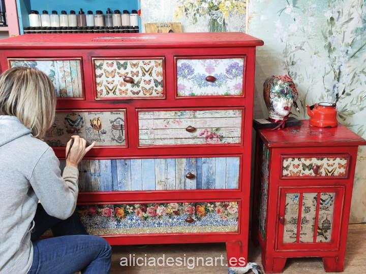 Ejemplo de encargo para la recuperación y decoración de muebles después de un incendio - Taller de decoración de muebles antiguos Alicia Designart Madrid