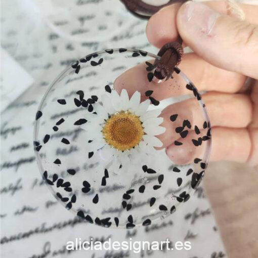 Medallón redondo floral con margarita y semillas, de la colección de joyería creativa y ecológica de Alicia Domínguez López - Taller de decoración de muebles antiguos Alicia Designart Madrid