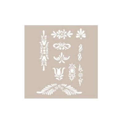 Plantilla Cadence de stencil estarcido apliques florales AS419 - Taller decoración de muebles antiguos Madrid estilo Shabby Chic, Provenzal, Romántico, Nórdico