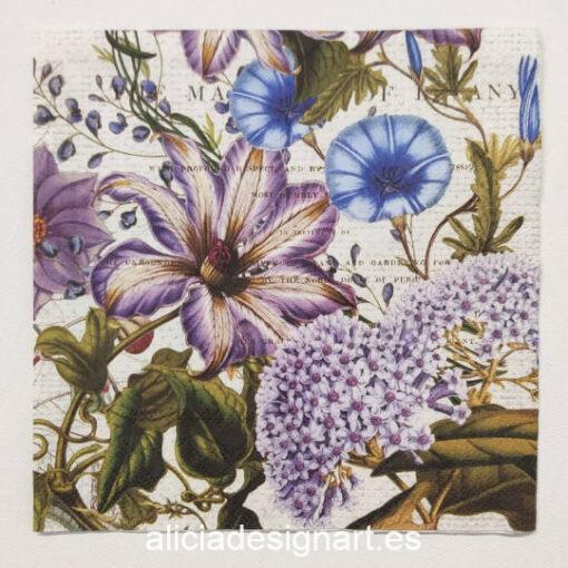 Servilleta para découpage con Flores de Jardín Inglés - Decoración de muebles antiguos estilo Shabby Chic, Provenzal, Romántico, Nórdico