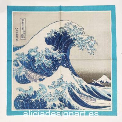 Servilleta para découpage con la gran ola de Kanagawa - Decoración de muebles antiguos estilo Shabby Chic, Provenzal, Romántico, Nórdico