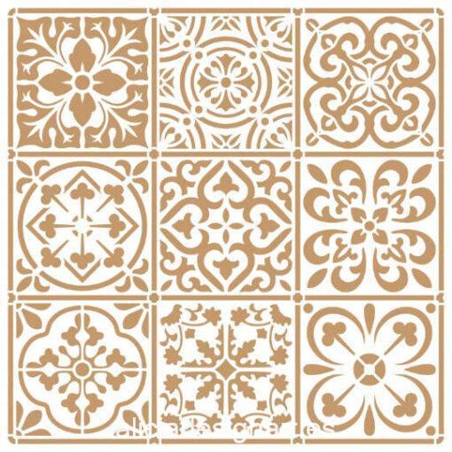 Plantilla de stencil estarcido 9 baldosas 4419 - Taller decoración de muebles antiguos Madrid estilo Shabby Chic, Provenzal, Romántico, Nórdico