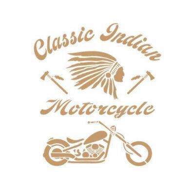 Plantilla de stencil estarcido vintage Classic Indian Motorcycle - Taller decoración de muebles antiguos Madrid estilo Shabby Chic, Provenzal, Romántico, Nórdico