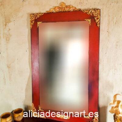 Espejo Kai Zen, de abeto decorado estilo oriental, por Pintando Sueños - Taller de decoración de muebles antiguos Madrid. Muebles de colores, productos y cursos.