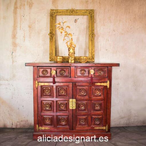 Taquillón Kai Zen, de haya decorado estilo oriental, por Pintando Sueños - Taller de decoración de muebles antiguos Madrid. Muebles de colores, productos y cursos.