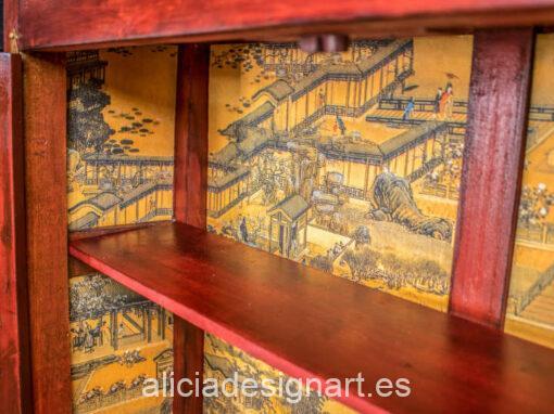 Taquillón Kai Zen, de haya decorado esitlo oriental, por Pintando Sueños - Taller de decoración de muebles antiguos Madrid. Muebles de colores, productos y cursos.
