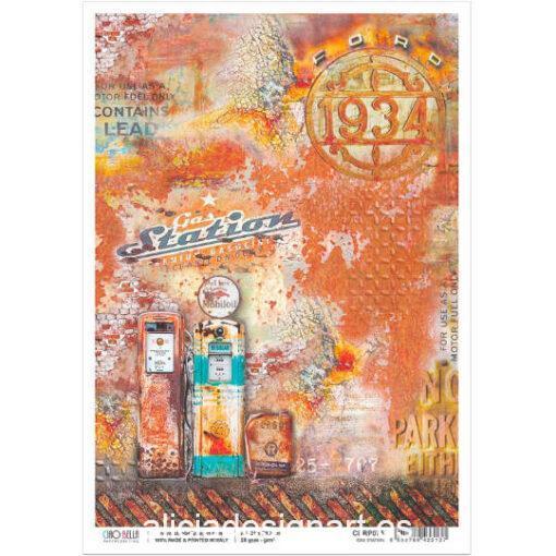 Papel de arroz para découpage de Ciao Bella con motivos Gas Station, ref CBRP075 - Taller decoración de muebles antiguos Madrid estilo Shabby Chic, Provenzal, Romántico, Nórdico